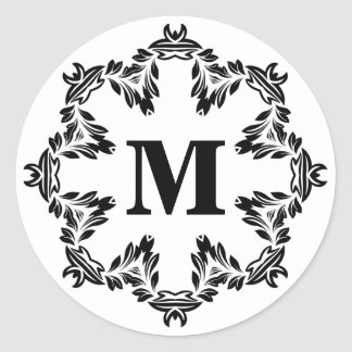 Etiqueta floral preta do selo do monograma da