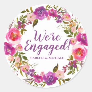 Etiqueta floral roxa personalizada do noivado