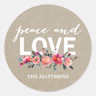 Etiqueta floral rústica do feriado da paz e do
