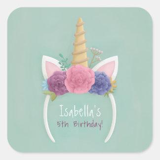 Etiqueta floral temático da festa de aniversario