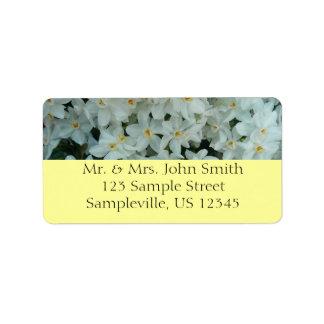 Etiqueta Flores brancas delicadas do narciso de Paperwhite