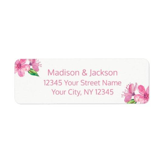 Etiqueta Flores cor-de-rosa que Wedding o endereço do