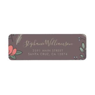 Etiqueta Flores do país & folhas do verde que Wedding