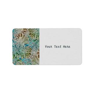 Etiqueta Flores metálicas azuis e de prata
