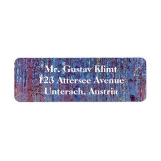 Etiqueta Floresta da faia por Gustavo Klimt, arte Nouveau