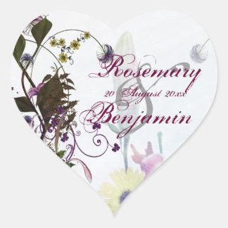 Etiqueta florido do coração do buquê do casamento adesivo coração