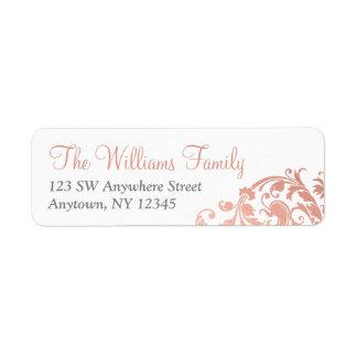Etiqueta Flourish cor-de-rosa do ouro do falso elegante