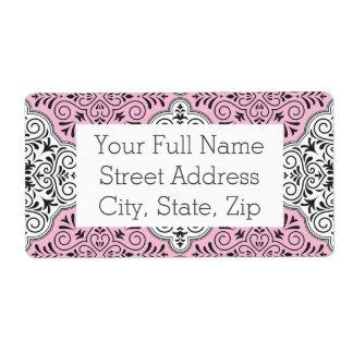 Etiqueta Flourish Rococo cor-de-rosa do teste padrão