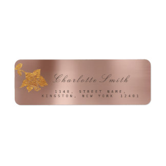 Etiqueta Folha de ouro floral RSVP perolado cor-de-rosa