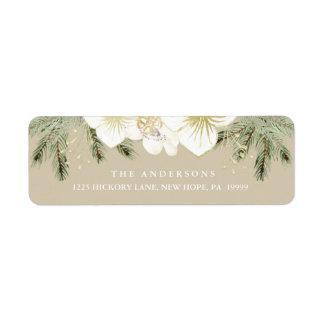 Etiqueta Folha floral da aguarela botânica do Natal