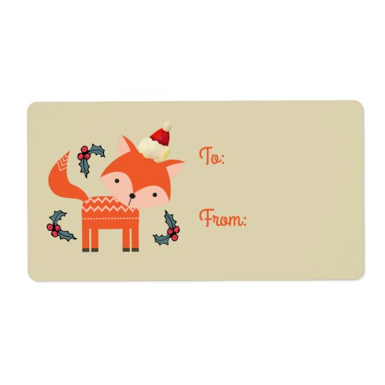 Etiqueta Fox alaranjado no presente retro bonito do Natal