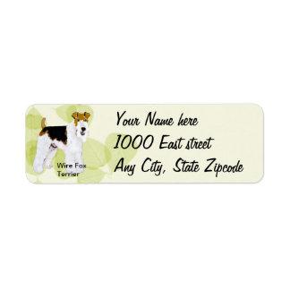 Etiqueta Fox Terrier do fio - design das folhas do verde