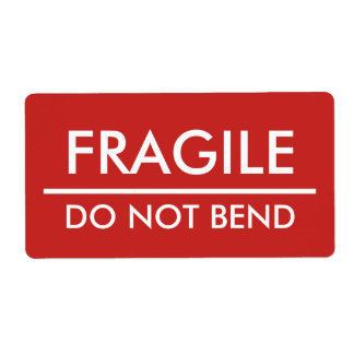 Etiqueta Frágil/não dobre o enviamento corajoso vermelho