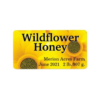 Etiqueta Frasco dourado do mel do Wildflower