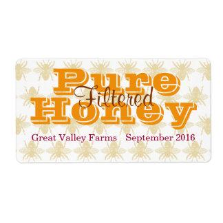 Etiqueta Frasco filtrado do mel da abelha de rainha