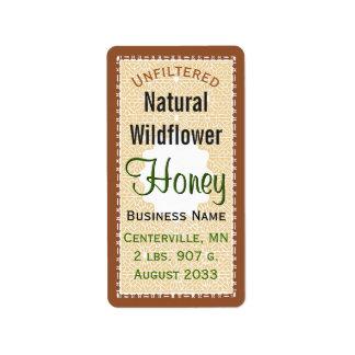 Etiqueta Frasco natural não filtrado do mel do WIldflower