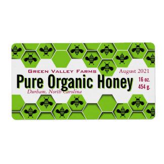 Etiqueta Frasco orgânico puro do mel personalizado