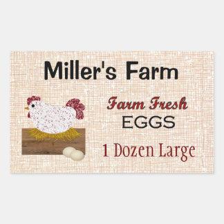 Etiqueta fresca do costume dos ovos da fazenda adesivo retangular