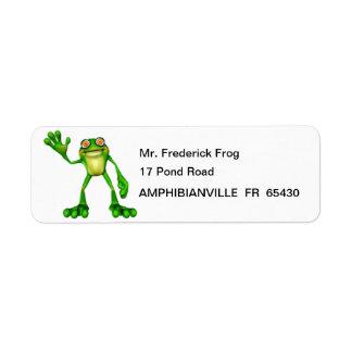 Etiqueta Froggie o sapo de ondulação dos desenhos animados