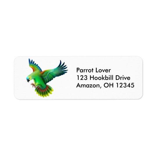 Etiqueta fronteada azul do papagaio de Amazon Etiqueta Endereço De Retorno