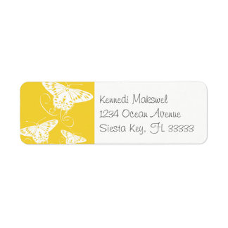 Etiqueta Fundo amarelo brilhante das borboletas gráficas