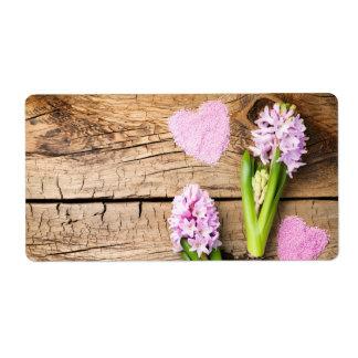 Etiqueta Fundo de jardinagem com flores do jacinto