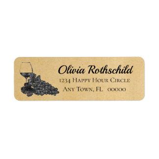 Etiqueta Fundo de papel velho das uvas do vidro de vinho da