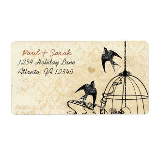 Etiqueta Gaiola de pássaro do preto da andorinha do damasco
