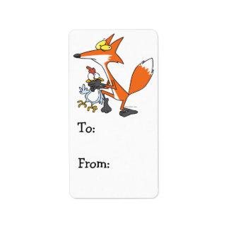 Etiqueta galinha engraçada que rouba a raposa do stealer