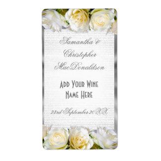 Etiqueta Garrafa de vinho do casamento floral e de prata de