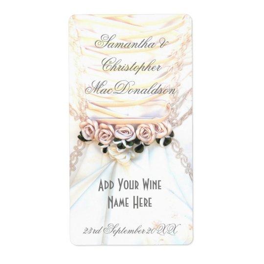 Etiqueta Garrafa de vinho floral do vestido de casamento
