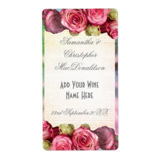 Etiqueta Garrafa de vinho romântica floral do casamento do