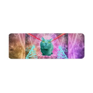 Etiqueta Gato com olhos do laser