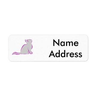 Etiqueta Gato cor-de-rosa, suficiência cinzenta