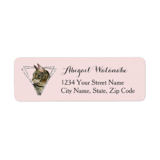 Etiqueta Gato de gato malhado com quadro do brilho da prata