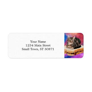 Etiqueta gato do pão - gato do espaço - gatos no espaço