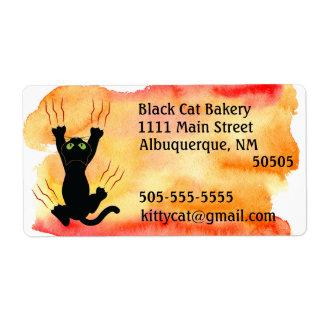 Etiqueta Gato preto que risca o endereço da aguarela