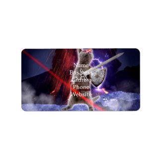 Etiqueta gatos do guerreiro - gato do cavaleiro - laser do