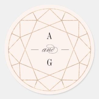 Etiqueta geométrica do casamento do monograma do