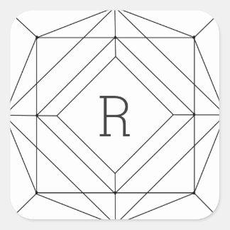 Etiqueta geométrica preta & branca adesivo quadrado