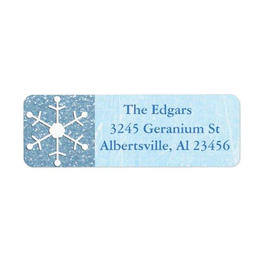 Etiqueta Glittery azul do retorno do endereço do Etiqueta Endereço De Retorno