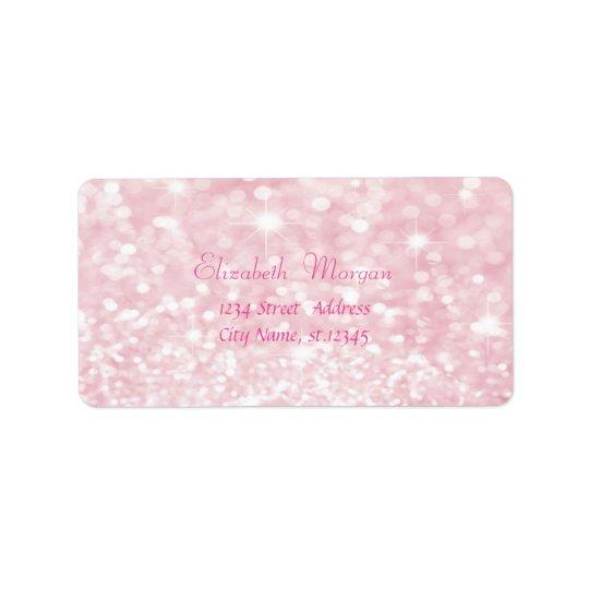 Etiqueta Glittery cor-de-rosa glamoroso elegante, Bokeh