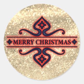 Etiqueta Glittery dourada bonita do Feliz Natal