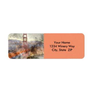 Etiqueta Golden gate bridge em San Francisco Califórnia