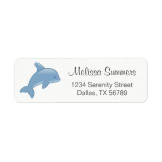 Etiqueta Golfinho de salto dos desenhos animados bonitos
