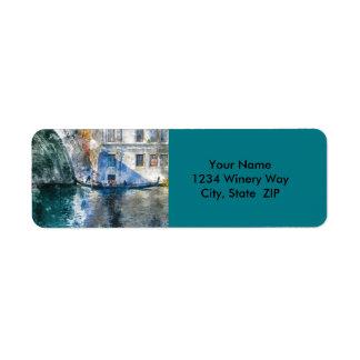 Etiqueta Gôndola no canal grande de Veneza Italia