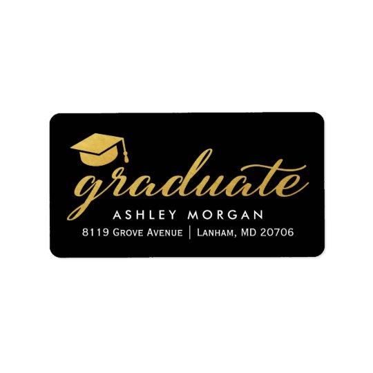Etiqueta Graduação graduada do roteiro da caligrafia do