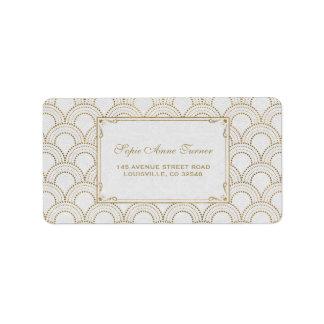 Etiqueta Grande casamento branco do ouro do art deco de