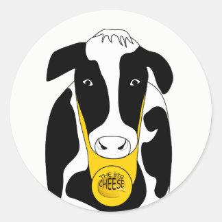 Etiqueta grande do chefe do queijo da vaca