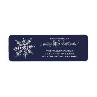 Etiqueta Grande Natal do floco de neve do marinho